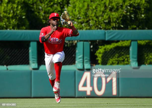 Odubel Herrera of the Philadelphia Phillies catches a line out in the eighth inning during a game against the Seattle Mariners at Citizens Bank Park...