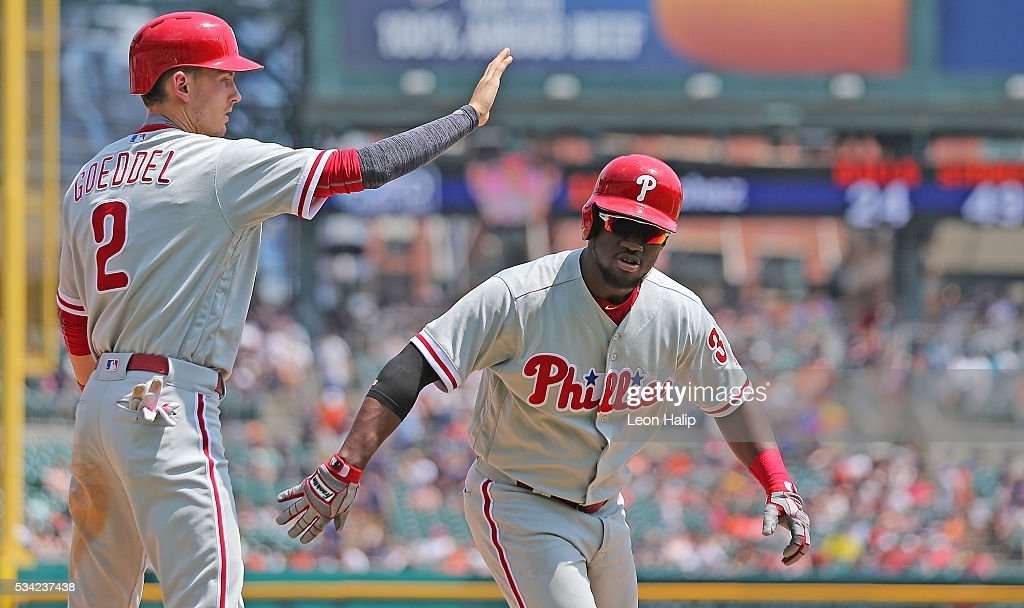 <a gi-track='captionPersonalityLinkClicked' href=/galleries/search?phrase=Odubel+Herrera&family=editorial&specificpeople=13795312 ng-click='$event.stopPropagation()'>Odubel Herrera</a> #37 of the Philadelphia Phillies celebrates after hitting a three run home run with teammate Tyler Goeddel #2 during the fourth inning of the inter-league game against the Detroit Tigers on May 25, 2016 at Comerica Park in Detroit, Michigan.