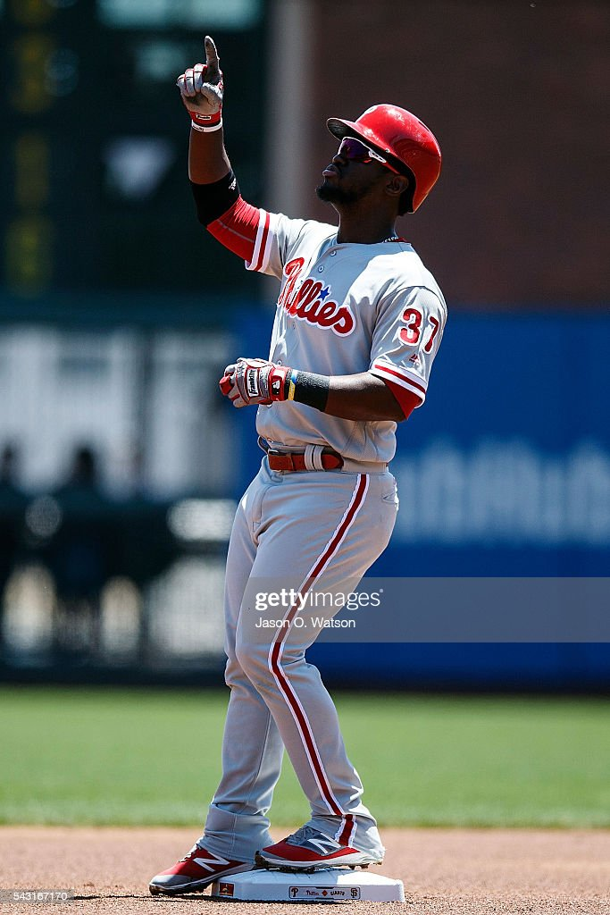 <a gi-track='captionPersonalityLinkClicked' href=/galleries/search?phrase=Odubel+Herrera&family=editorial&specificpeople=13795312 ng-click='$event.stopPropagation()'>Odubel Herrera</a> #37 of the Philadelphia Phillies celebrates after hitting a double against the San Francisco Giants during the first inning at AT&T Park on June 26, 2016 in San Francisco, California.