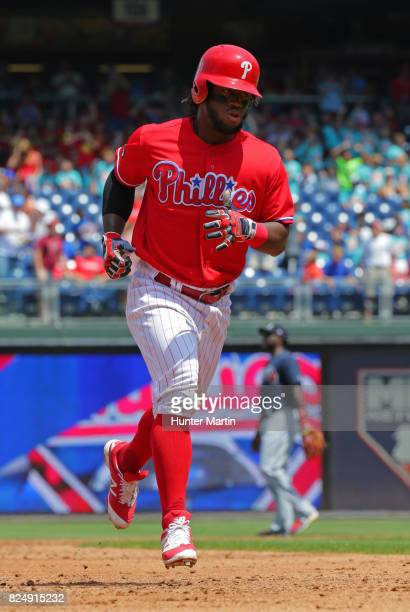 Odubel Herrera of the Philadelphia Phillies circles the bases after hitting a threerun home run in the third inning during a game against the Atlanta...