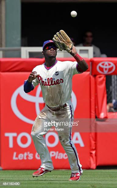 Odubel Herrera of the Philadelphia Phillies during a game against the Los Angeles Dodgers at Citizens Bank Park on August 6 2015 in Philadelphia...