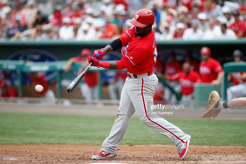 Odubel Herrera #37 of the Philadelphia Phillies hits a single against the Boston Red Sox during the third inning of a spring training game at JetBlue Park on March 27, 2016 in Fort Myers, Florida. The Red Sox defeated the Phillies 5-1.