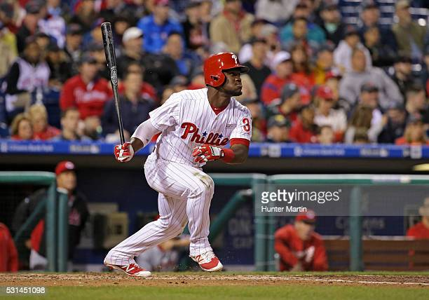 Odubel Herrera of the Philadelphia Phillies hits a solo home run in the seventh inning during a game against the Cincinnati Reds at Citizens Bank...