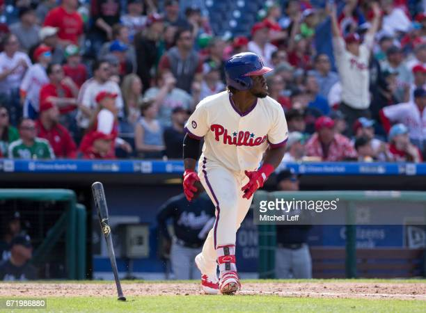 Odubel Herrera of the Philadelphia Phillies hits a solo home run in the bottom of the eighth inning against the Atlanta Braves at Citizens Bank Park...