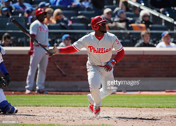 Odubel Herrera of the Philadelphia Phillies hits a two run home run against Matt Harvey of the New York Mets in the sixth inning during their game at...