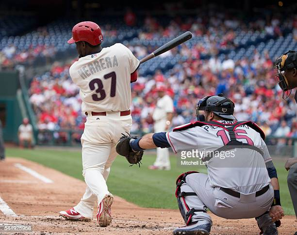 Odubel Herrera of the Philadelphia Phillies hits a two run home run in the bottom of the second inning against the Atlanta Braves at Citizens Bank...