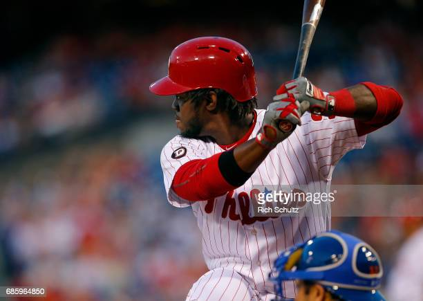 Odubel Herrera of the Philadelphia Phillies in action against the New York Mets during a game at Citizens Bank Park on April 10 2017 in Philadelphia...