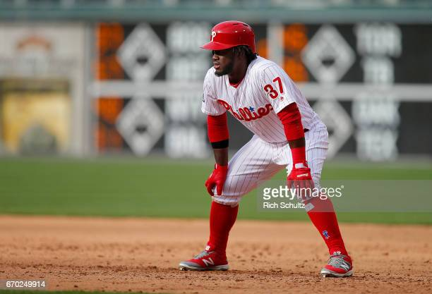 Odubel Herrera of the Philadelphia Phillies in action against the Washington Nationals in a game at Citizens Bank Park on April 7 2017 in...