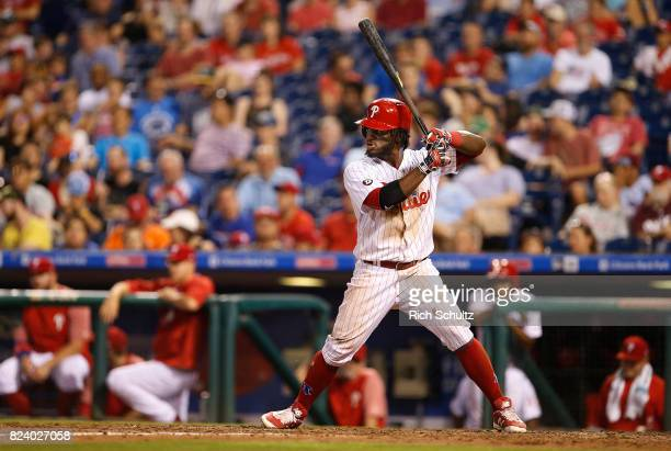 Odubel Herrera of the Philadelphia Phillies in action during a game against the Milwaukee Brewers at Citizens Bank Park on July 21 2017 in...