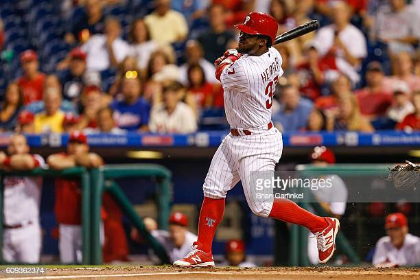 Odubel Herrera of the Philadelphia Phillies looks on after hitting a two run home run in the first inning of the game against the Chicago White Sox...