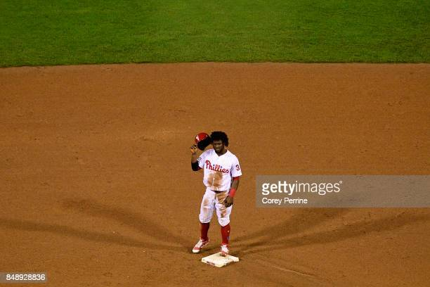Odubel Herrera of the Philadelphia Phillies makes his way safely to second base during the eighth inning at Citizens Bank Park on September 16 2017...