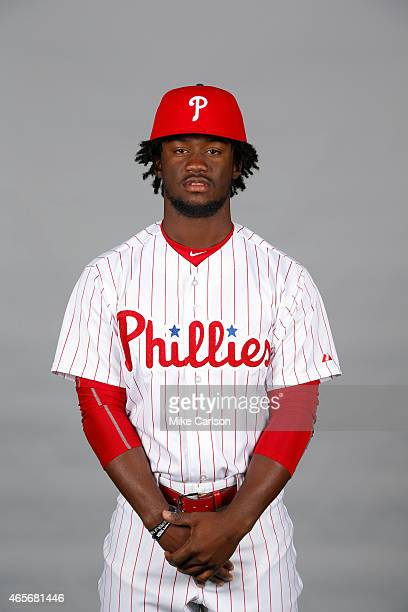 Odubel Herrera of the Philadelphia Phillies poses during Photo Day on Friday February 27 2015 at Bright House Field in Clearwater Florida