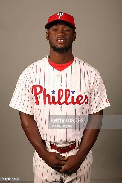Odubel Herrera of the Philadelphia Phillies poses during Photo Day on Friday February 26 2016 at Bright House Field in Clearwater Florida