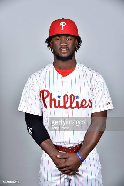 Odubel Herrera of the Philadelphia Phillies poses during Photo Day on Monday February 20 2017 at Spectrum Field in Clearwater Florida