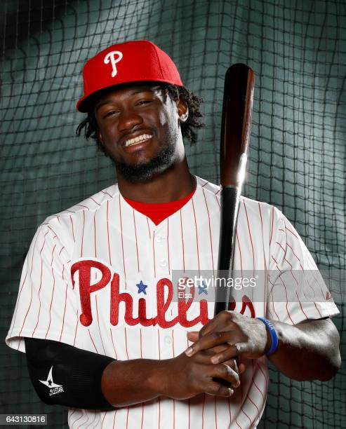 Odubel Herrera of the Philadelphia Phillies poses for a portrait during the Philadelphia Phillies photo day on February 20 2017 at Spectrum Field in...