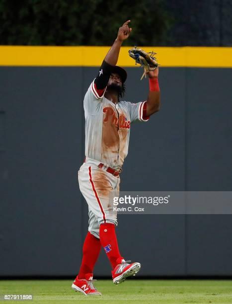 Odubel Herrera of the Philadelphia Phillies reacts after their 52 win over the Atlanta Braves at SunTrust Park on August 8 2017 in Atlanta Georgia