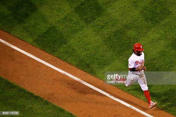 Odubel Herrera of the Philadelphia Phillies scores the final run of the game for the Phillies against the Oakland Athletics during the eighth inning...