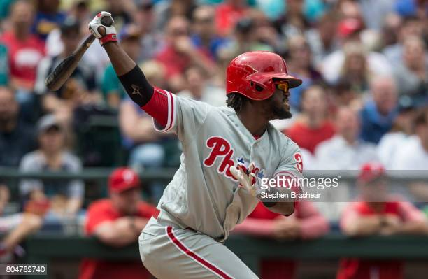 Odubel Herrera of the Philadelphia Phillies takes a swing during an atbat in an interleague game against the Seattle Mariners at Safeco Field on June...