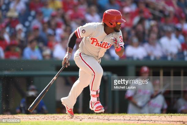 Odubel Herrera of the Philadelphia Phillies takes a swing during the game against the Washington Nationals at Nationals Park on April 16 2017 in...