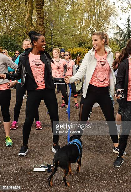 Odudu and Vogue Williams attend the Lady Garden 5K Fun Run in aid of Silent No More Gynaecological Cancer Fund in Battersea Park on April 23 2016 in...