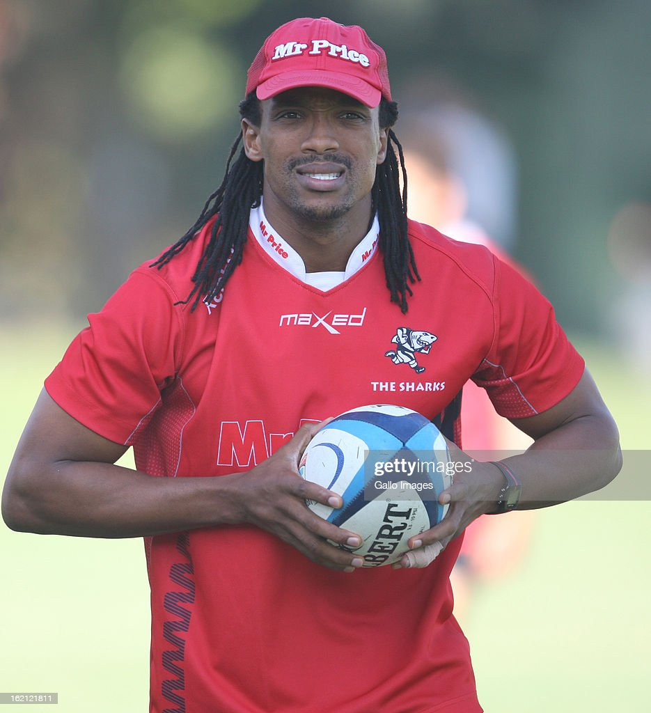 Odwa Ndunganeu during The Sharks training session at Kings Park on February 19, 2013 in Durban, South Africa.