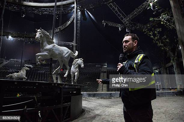 Odysseo's resident artistic director Darren Charles talks about the merry go round in the Cavalia big white top at Olympic Village on January 24 2017...