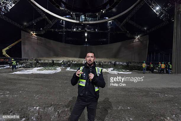 Odysseo's resident artistic director Darren Charles talks at the Cavalia big white top in Olympic Village on January 24 2017 in Vancouver Canada