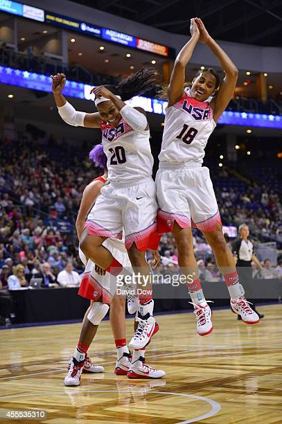 Odyssey Sims and Skylar Diggins of the USA Basketball Women's National Team celebrate the win against the Canadian Basketball Women's National Team...