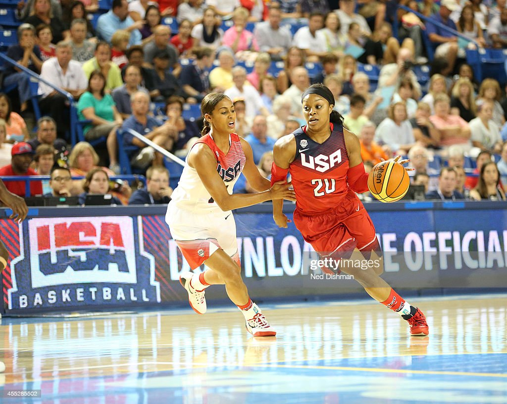 <a gi-track='captionPersonalityLinkClicked' href=/galleries/search?phrase=Odyssey+Sims&family=editorial&specificpeople=7412276 ng-click='$event.stopPropagation()'>Odyssey Sims</a> #20 drives against Skylar Diggins #18 during the Women's Senior U.S. National Team Red vs White game on September 11, 2014 in Newark, DE.
