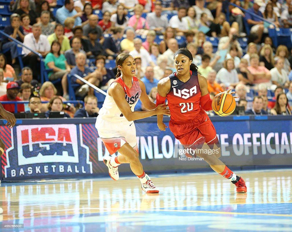Odyssey Sims drives against Skylar Diggins during the Women's Senior US National Team Red vs White game on September 11 2014 in Newark DE NOTE TO...