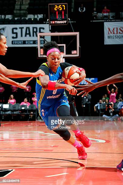 Odyssey Sims of the Dallas Wings drives to the basket during the game against the San Antonio Stars during the WNBA game on September 9 2016 at the...