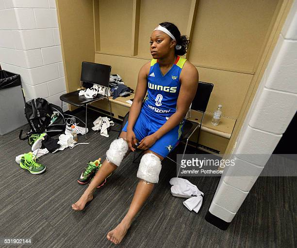 Odyssey Sims of the Dallas Wings ices her knees after the game against the Indiana Fever on May 14 2016 in Indianapolis Indiana NOTE TO USER User...