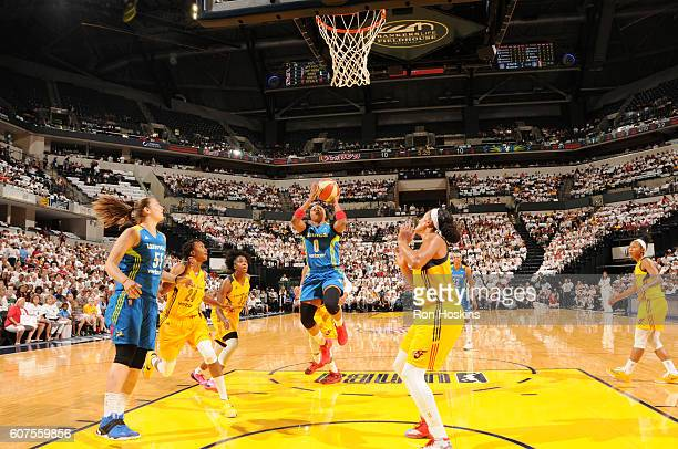 Odyssey Sims of the Dallas Wings shoots the ball against the Indiana Fever on September 18 2016 at Bankers Life Fieldhouse in Indianapolis Indiana...