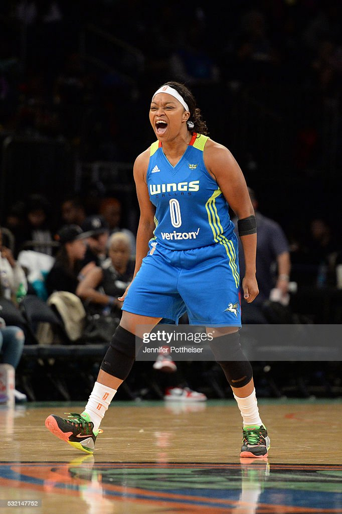 <a gi-track='captionPersonalityLinkClicked' href=/galleries/search?phrase=Odyssey+Sims&family=editorial&specificpeople=7412276 ng-click='$event.stopPropagation()'>Odyssey Sims</a> #0 of the Dallas Wings shows emotion during the game against the New York Liberty at Madison Square Garden on May 15, 2016 in New York, New York