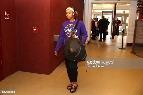 Odyssey Sims of the Los Angeles Sparks arrives before the game against the Minnesota Lynx in Game 5 of the 2017 WNBA Finals on October 4 2017 in...