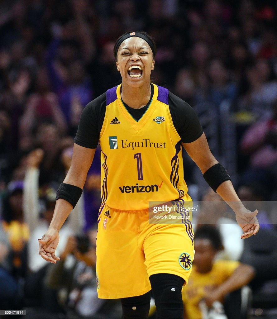Odyssey Sims #1 of the Los Angeles Sparks celebrates after scoring on a three point basket against Minnesota Lynx during Game Four of WNBA Finals at Staples Center October 1, 2017, in Los Angeles, California.