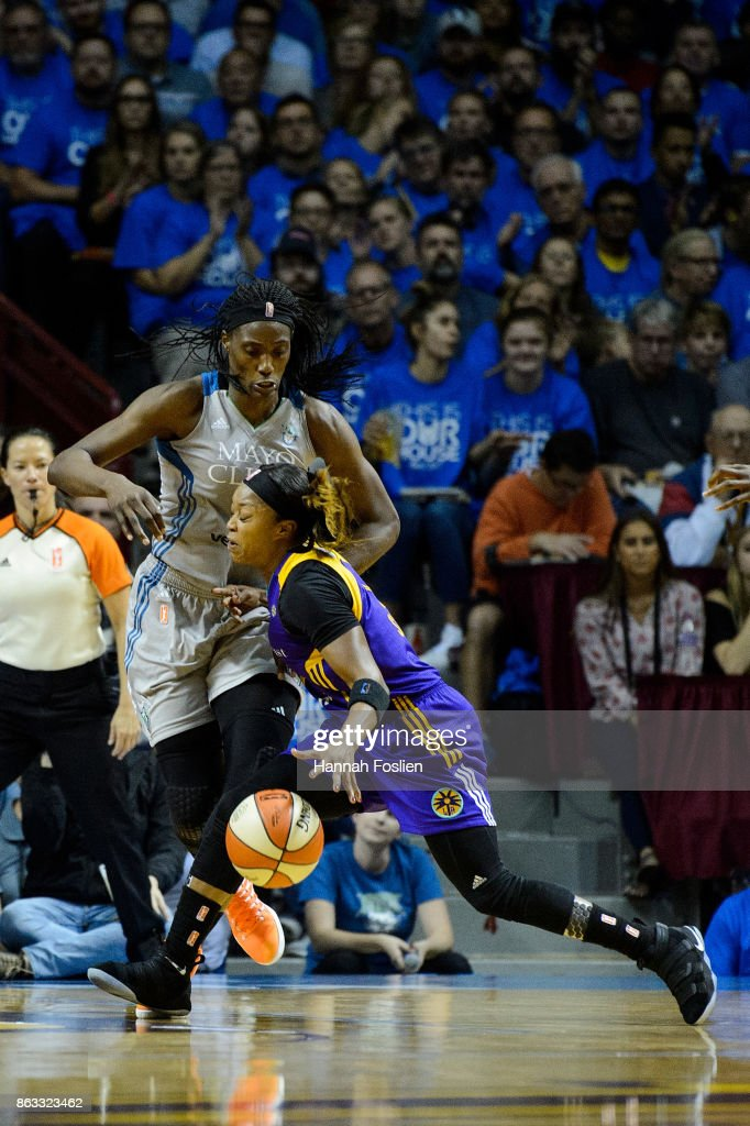 Odyssey Sims #1 of the Los Angeles Sparks drives to the basket against Sylvia Fowles #34 of the Minnesota Lynx during the second quarter of Game Two of the WNBA Finals on September 26, 2017 at Williams in Minneapolis, Minnesota. The Lynx defeated the Sparks 70-68.