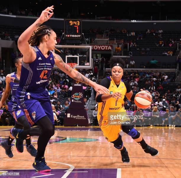 Odyssey Sims of the Los Angeles Sparks drives to the basket during a game against the Phoenix Mercury on June 18 2017 at STAPLES Center in Los...