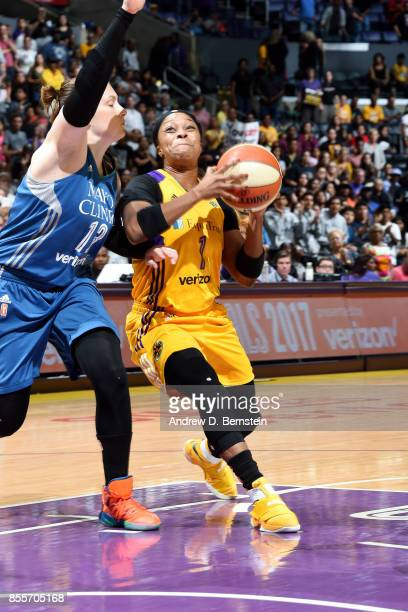 Odyssey Sims of the Los Angeles Sparks drives to the basket during the game against the Minnesota Lynx in Game Three of the 2017 WNBA Finals on...