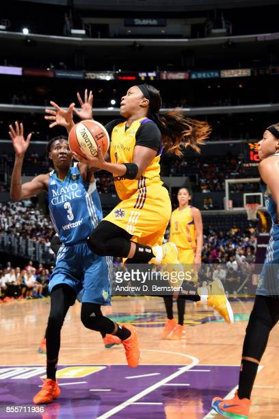 Odyssey Sims of the Los Angeles Sparks goes for a lay up during the game against the Minnesota Lynx in Game Three of the 2017 WNBA Finals on...