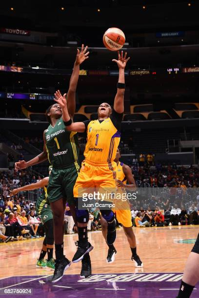 Odyssey Sims of the Los Angeles Sparks goes to the basket against the Seattle Storm on May 13 2017 at STAPLES Center in Los Angeles California NOTE...