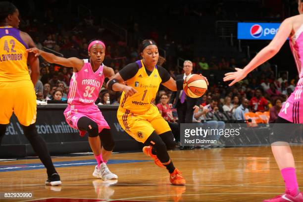 Odyssey Sims of the Los Angeles Sparks handles the ball against Shatori WalkerKimbrough of the Washington Mystics on August 16 2017 at the Verizon...