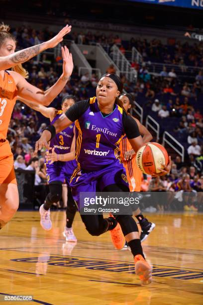 Odyssey Sims of the Los Angeles Sparks handles the ball against the Phoenix Mercury on August 24 2017 at Talking Stick Resort Arena in Phoenix...