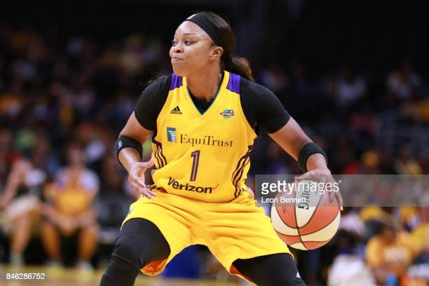 Odyssey Sims of the Los Angeles Sparks handles the ball against the Phoenix Mercury during a WNBA Playoff Game at Staples Center on September 12 2017...