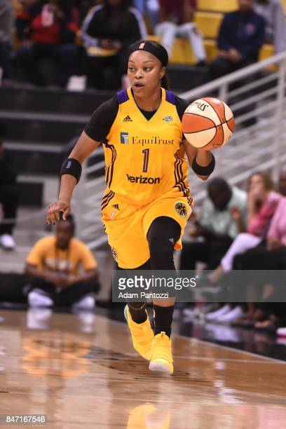 Odyssey Sims of the Los Angeles Sparks handles the ball against the Phoenix Mercury in Game Two of the Semifinals during the 2017 WNBA Playoffs on...