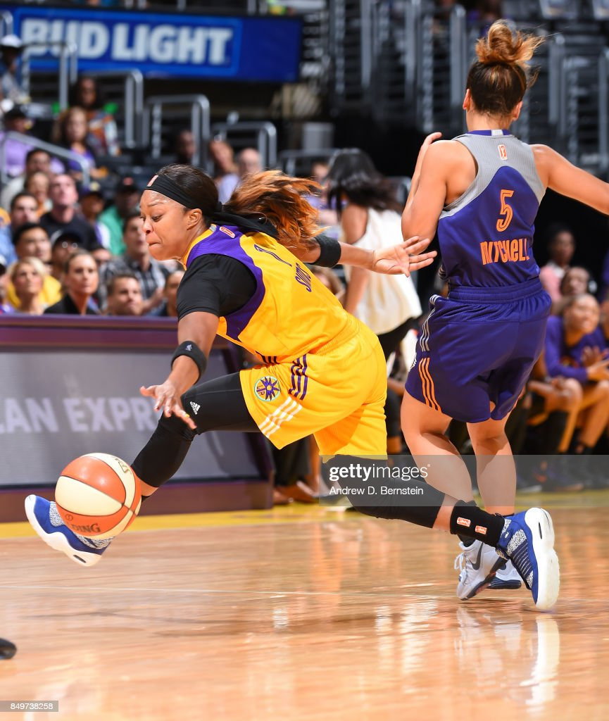 Odyssey Sims #1 of the Los Angeles Sparks handles the ball against the Phoenix Mercury in Game One of the Semifinals during the 2017 WNBA Playoffs on September 12, 2017 at STAPLES Center in Los Angeles, California.