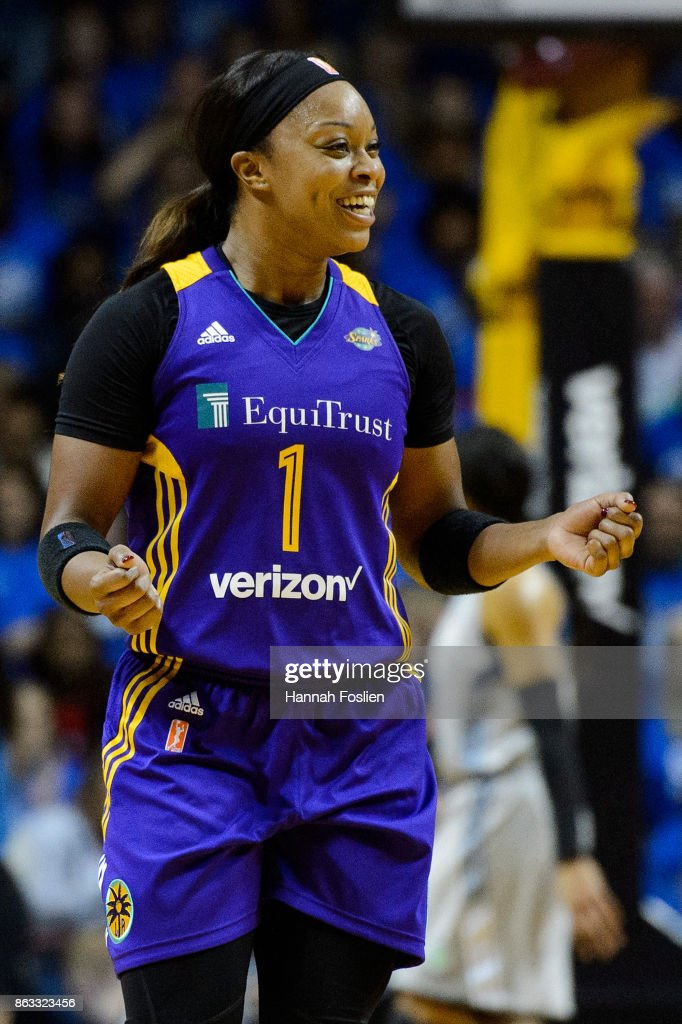 Odyssey Sims #1 of the Los Angeles Sparks reacts during the second quarter of Game Two of the WNBA Finals against the Minnesota Lynx on September 26, 2017 at Williams in Minneapolis, Minnesota. The Lynx defeated the Sparks 70-68.