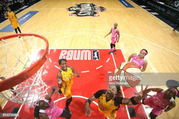 Odyssey Sims of the Los Angeles Sparks shoots the ball against the Washington Mystics on August 16 2017 at the Verizon Center in Washington DC NOTE...
