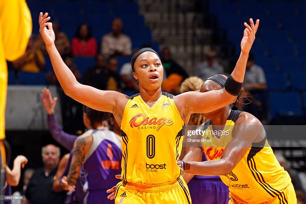 Odyssey Sims of the Tulsa Shock celebrates against the Phoenix Mercury during Game Two of the WNBA Western Conference Semifinals on September 19 2015...