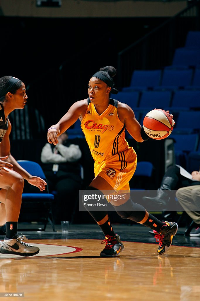 <a gi-track='captionPersonalityLinkClicked' href=/galleries/search?phrase=Odyssey+Sims&family=editorial&specificpeople=7412276 ng-click='$event.stopPropagation()'>Odyssey Sims</a> #0 of the Tulsa Shock dribbles the ball against the San Antonio Stars on September 8, 2015 at the BOK Center in Tulsa, Oklahoma.